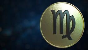 Gold token with Virgo Zodiac sign. 3D rendering. Gold token with Zodiac sign. 3D stock illustration