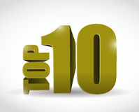 Gold top ten sign illustration design Stock Photography