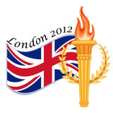 Gold torch and UK flag - London 2012. London 2012 sports games with golden torch and crown of laurels. Isolated over white background. Vector file saved as EPS royalty free illustration