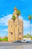 Gold Torre del Oro塔是在Paseo的一座军事城楼 库存图片