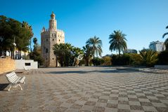 The gold tower in Seville near the river guadalquivir. Discovering the beautiful Andalusia in southern Spain stock photo