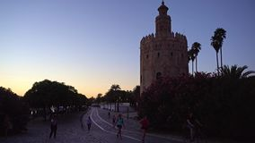 Gold tower in Seville stock footage