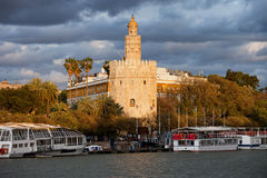 Gold Tower of Seville at Sunset Stock Image