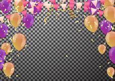 Gold transparent balloon on background balloons, vector illustra. Tion. Confetti and ribbons, Celebration background template with Stock Photography