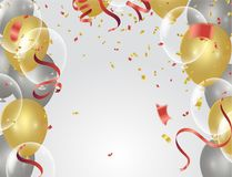Gold transparent balloon on background balloons, vector illustra. Tion. Confetti and ribbons, Celebration background template with Stock Images