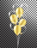 Gold transparent balloon on background balloons, vector illustration. Confetti and ribbons, Celebration background template with vector illustration
