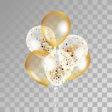 Gold transparent balloons on background. Royalty Free Stock Image