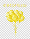 Gold transparent balloons Royalty Free Stock Photo