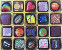 A Gold Tray of Hand Crafted Chocolates. A Golden Tray of Colorful Hand Crafted Chocolates royalty free stock images