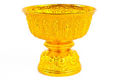 Gold tray with pedestal Royalty Free Stock Image