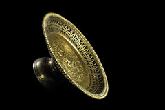 Gold tray with pedestal isolated on black background. Horizontal Royalty Free Stock Image