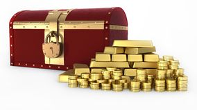 Gold Treasure chest Royalty Free Stock Image