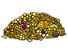 Gold treasure. Illustration pile of treasure gold, pearls, gems, coins, artefacts, vector graphic Royalty Free Stock Photos