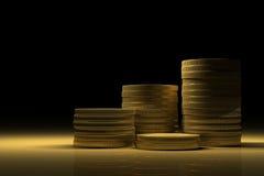 Gold Treasure with Money stacks Royalty Free Stock Photos
