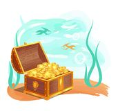 Gold Treasures in Wooden Chest at Ocean Bottom. Gold treasure in wooden chest at ocean bottom. Shiny coins hidden in water among fishes and seaweed. Precious Stock Photo