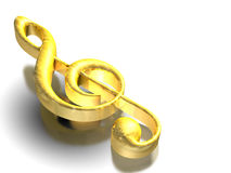 Gold treble clef Stock Photography
