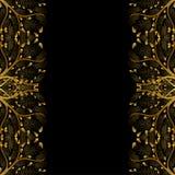 Gold Tree Border isolated on Black Background. Vector Illustration.  Stock Image