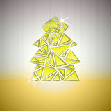Gold triangle cluster tree vector card Royalty Free Stock Photography