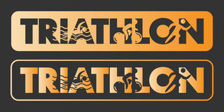 Gold triathlon logo and icon Royalty Free Stock Photos