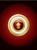 Gold trimmed red button Stock Image