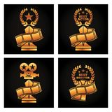 Gold trophies award best director. Actor actress strip film movie Royalty Free Stock Photography