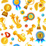 Gold Trophies Pattern. Colored cartoon gold trophies medals seamless background pattern flying on white fond vector illustration Royalty Free Stock Image
