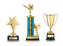 Gold trophies Royalty Free Stock Photo