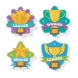 Gold trophies of shape of stars or bowls . The concept of victory. Vector illustration. royalty free illustration