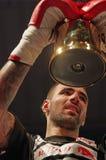 Gold trophy. Bogdan Stoica (Romania) winner superfight 92 kg at Superkombat Final Elimination, october 15, Piatra Neamt stock photo