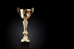 Gold Trophy On Black Royalty Free Stock Photo