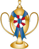 Gold Trophy with Blue Ribbon Royalty Free Stock Images