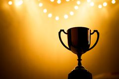 Gold Trophy competition in the dark royalty free stock photos