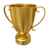 Gold trophy cup against a white background Stock Images