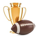 Gold trophy cup award and American football ball, 3D rendering. Isolated on white background Royalty Free Stock Images