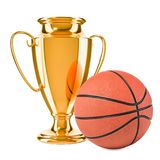 Gold trophy cup award and basketball ball, 3D rendering. Isolated on white background Stock Photo