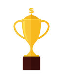 Gold Trophy Cup Award Isolated on White. Professional growth. First prize place. Achieving best results due to constant learning. Business education. Victory Stock Photography