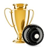 Gold trophy cup award with lawn bowls ball, 3D rendering stock illustration
