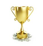 Gold trophy cup dollar. On a white background Royalty Free Stock Photo