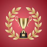 Gold Trophy Cup and Laurel Wreath Illustration Stock Photo