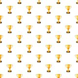 Gold trophy cup pattern. Seamless repeat in cartoon style vector illustration Royalty Free Stock Photography