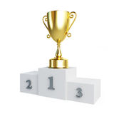Gold trophy cup pedestal Stock Photo