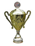 Gold trophy cup pedestal with blank space isolated Royalty Free Stock Photo