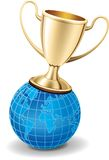 Gold trophy cup on top of the world. Gold shiny trophy cup on the top of world globe. Success symbol, good for icons Stock Images
