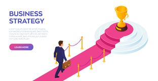 Gold Trophy Cup of the winner on a red carpet path. Businessman with briefcase in hand walking on red carpet to the success. Road. To success. Business Strategy royalty free illustration