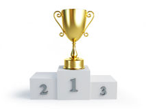 Gold trophy cup winners pedestal Stock Photography