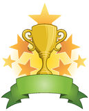 Gold Trophy Cup. A winning gold trophy cup with stars and a banner stock illustration