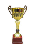 Gold trophy cup on wood pedestal. With blank space isolated on white background royalty free stock image