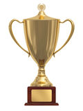 Gold trophy cup on wood pedestal Royalty Free Stock Photos