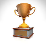 Gold trophy cup on wood pedestal. With blank golden plate  on white. High resolution 3D image Stock Photo