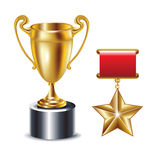 Gold trophy and golden star Stock Images